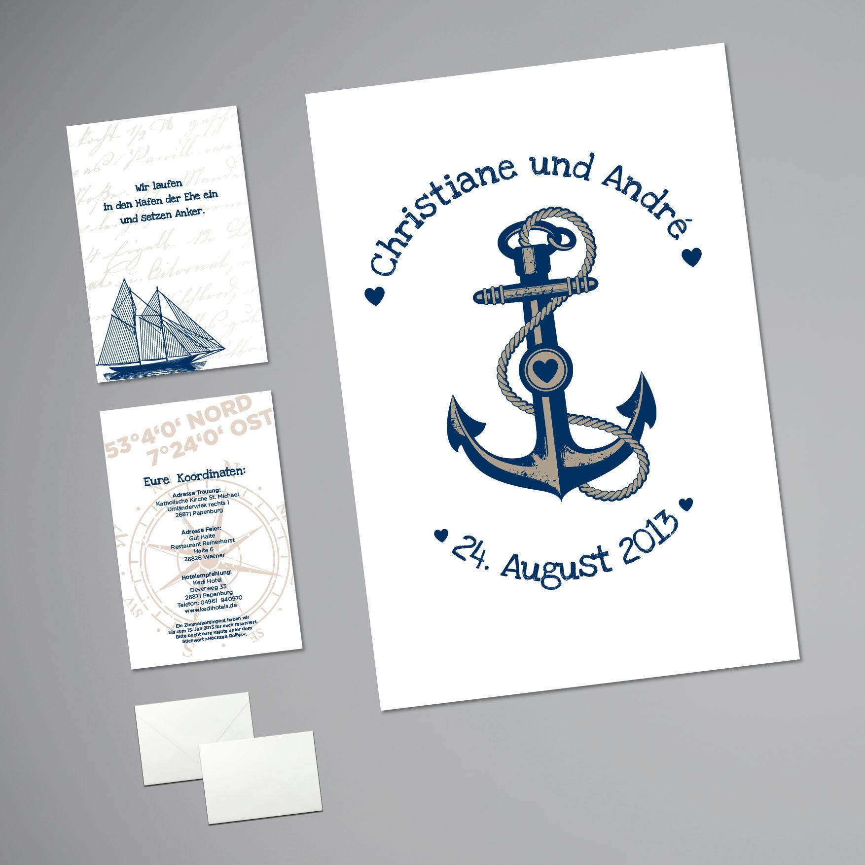 hochzeit einladungskarten maritim